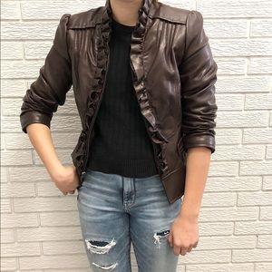 Vegan Leather Moto Jacket with Ruffle Details